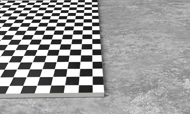 Renderização 3d de ladrilhos quadrados de pavimento em concreto de pedra cinza