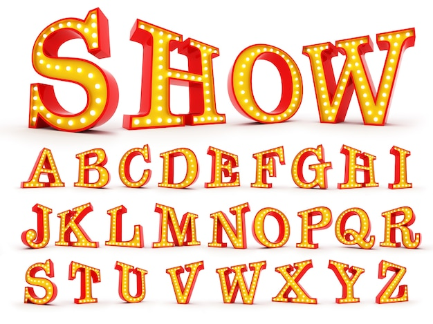 Renderização 3d de lâmpada alfabeto colorido sobre fundo branco