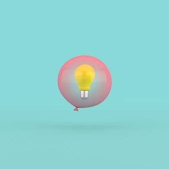 Renderização 3d de lâmpada em um balão vermelho.