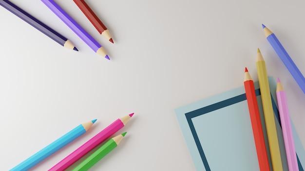 Renderização 3d de lápis coloridos e pedaço de papel azul isolado no fundo branco