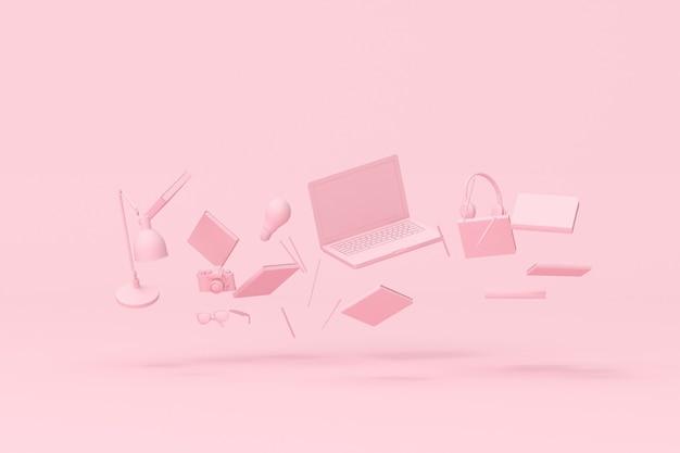 Renderização 3d de laptop flutuante e acessórios de escritório