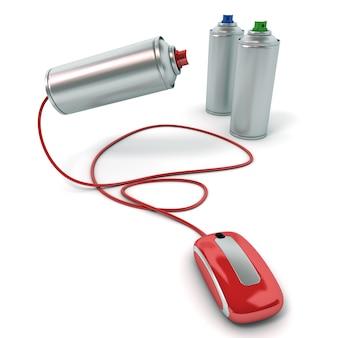 Renderização 3d de latas de spray conectadas a um mouse de computador