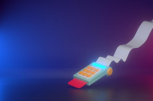 Renderização 3d de leitor de cartão de crédito com impressora de recibos.