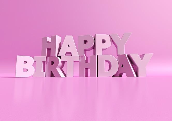 renderização 3d de letras brancas formando as palavras feliz aniversário em uma superfície rosa roxa