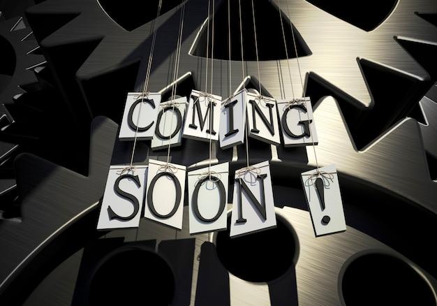 Renderização 3d de letras formando as palavras em breve, penduradas em cordas contra um fundo de relógio