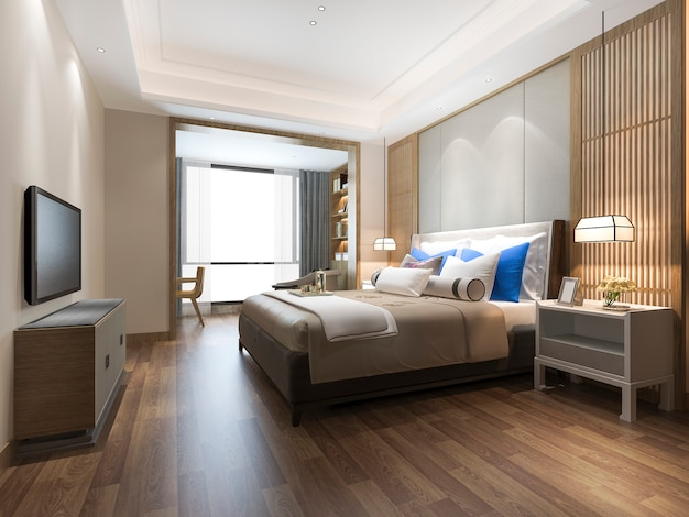 Renderização 3d de luxo azul moderno quarto suite no hotel