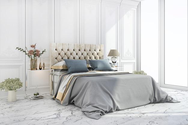 Renderização 3d de luxo cama azul no quarto clássico branco