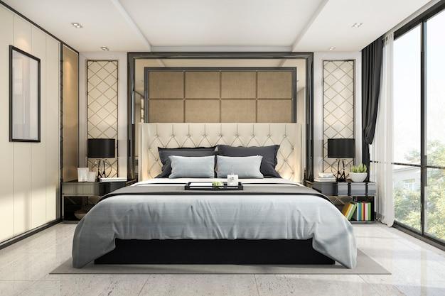 Renderização 3d de luxo clássico quarto moderno com decoração em mármore