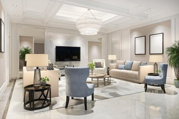 Renderização 3d de luxo e moderna sala de estar com estante