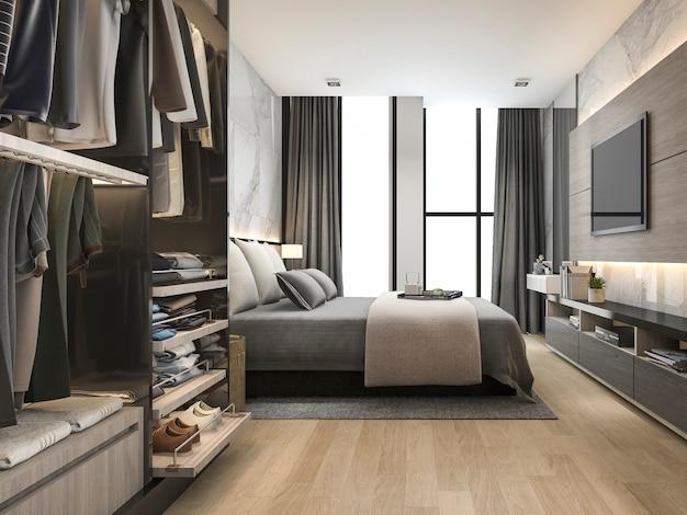Renderização 3d de luxo e moderna sala de estar com sofá de couro bom design