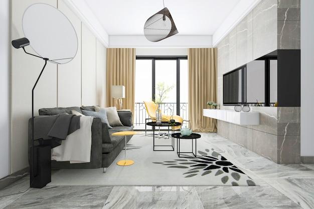 Renderização 3d de luxo e moderna sala de estar com sofá de tecido