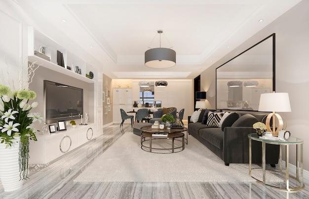 Renderização 3d de luxo e moderna sala de estar e sala de jantar