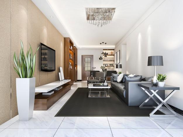 Renderização 3d de luxo e moderna sala de estar perto de cozinha