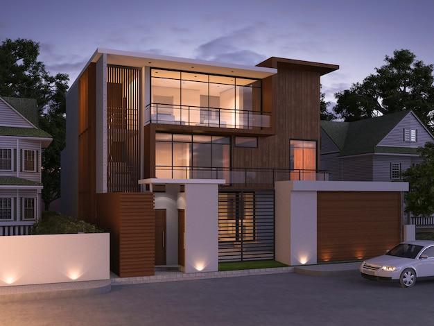 Renderização 3d de luxo edifício moderno na aldeia à noite