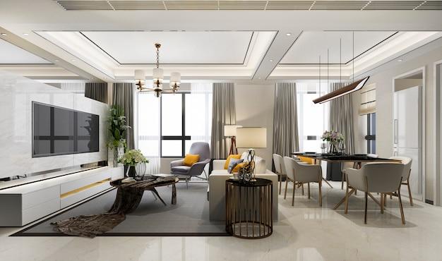 Renderização 3d de luxo moderna sala de jantar e sala de estar