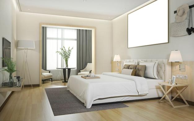 Renderização 3d de luxo moderno quarto no hotel com mock up frame