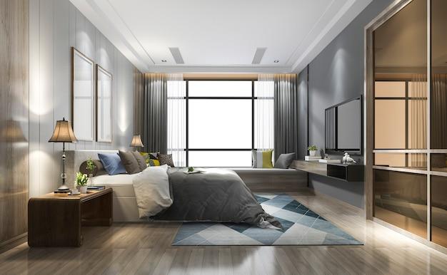 Renderização 3d de luxo moderno quarto suite no hotel com roupeiro