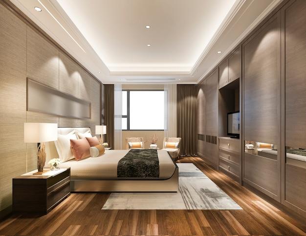 Renderização 3d de luxo moderno quarto suite no hotel