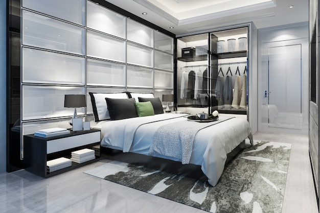 Renderização 3d de luxo moderno quarto suite tv com roupeiro e closet