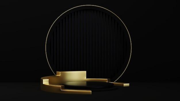 Renderização 3d de luxuosos pódios de ouro com anel fino de ouro isolado no fundo preto