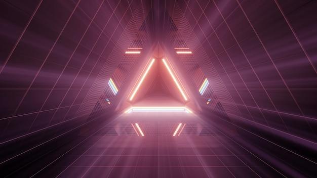 Renderização 3d de luzes brilhantes em formas triangulares uma atrás da outra
