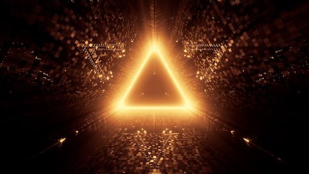 Renderização 3d de luzes de laser neon em uma forma triangular com um fundo preto