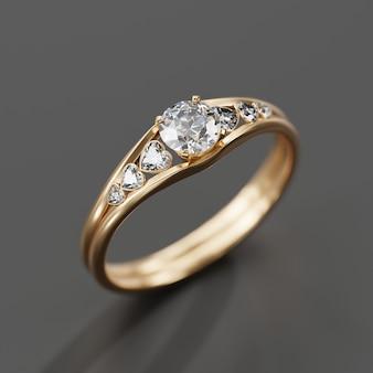 Renderização 3d de macro de anel de diamante dourado com foco suave