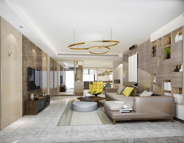 Renderização 3d de madeira clássica sala de estar e sala de jantar com estante