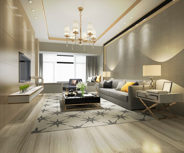 Renderização 3d de madeira clássica sala de estar e sala de jantar com prateleira