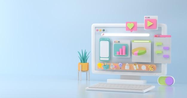 Renderização 3d de maquete de computador e ícone social.