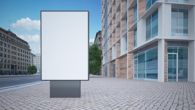 Renderização 3d de maquete de publicidade de rua