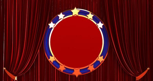 Renderização 3d de maquete do círculo com estrelas
