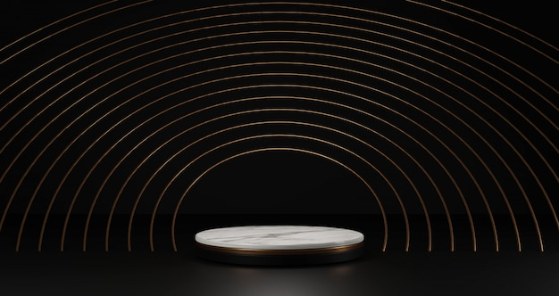 Renderização 3d de mármore branco e pedestal de ouro isolado no fundo preto, anéis de ouro redondo quadro, conceito mínimo abstrato, espaço em branco, luxo minimalista