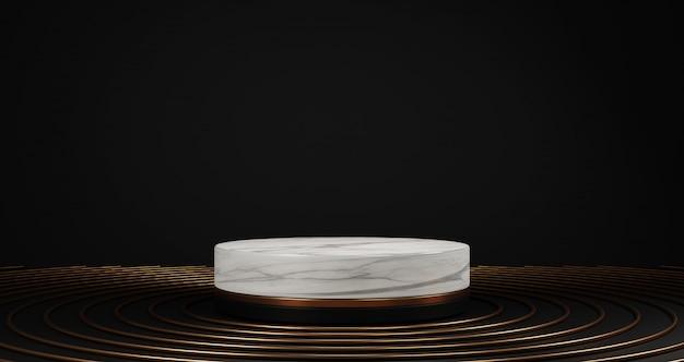 Renderização 3d de mármore branco e pedestal dourado isolado no fundo preto, anel de ouro, moldura redonda no chão, conceito mínimo abstrato, espaço em branco, luxo minimalista