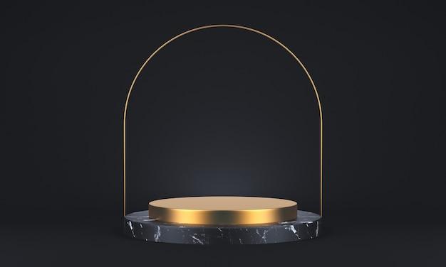 Renderização 3d de mármore escuro e pedestal de ouro sobre fundo preto, moldura de ouro redonda, conceito mínimo abstrato, espaço em branco, design simples e limpo, maquete minimalista de luxo. renderização 3d