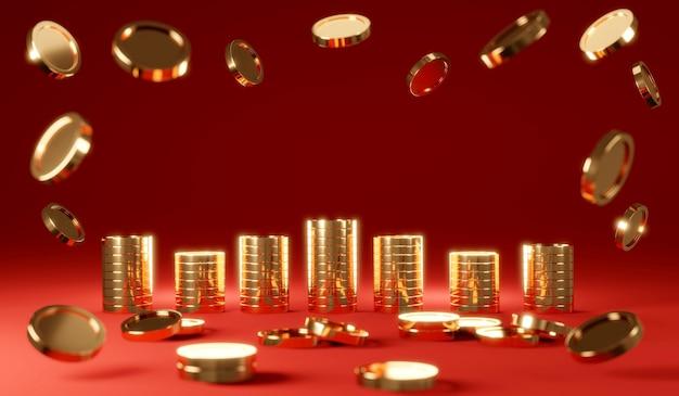 Renderização 3d de moedas de chuva com pilha de moedas com primeiro plano de moedas desfocadas em fundo vermelho