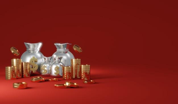Renderização 3d de moedas de chuva com sacos de dinheiro com espaço para texto comercial em fundo vermelho