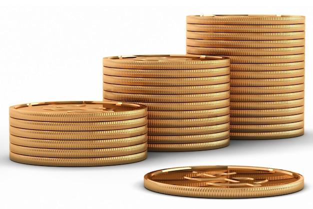 Renderização 3d de moedas em euros
