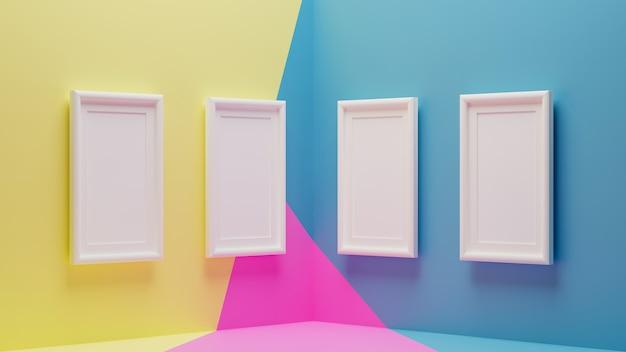 Renderização 3d de moldura branca no papel de parede moderno
