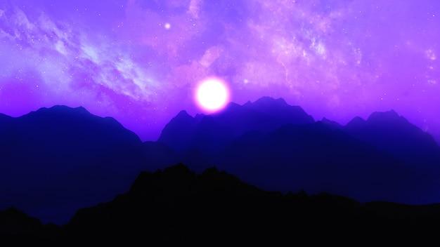 Renderização 3d de montanhas contra um céu espacial
