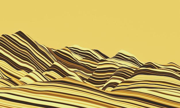 Renderização 3d de montanhas de rochas sedimentares com camadas