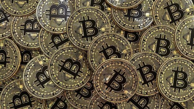 Renderização 3d de muitas moedas bitcoin douradas e pretas metálicas