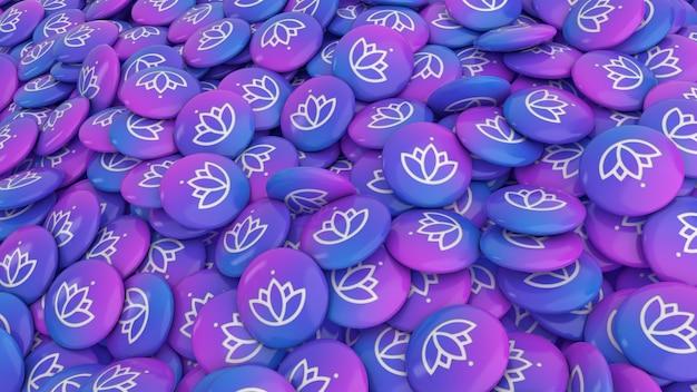 Renderização 3d de muitos comprimidos coloridos com o logotipo da flor de lótus em uma visualização de perto