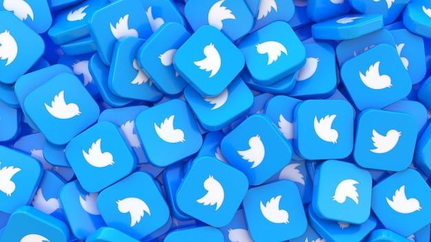 Renderização 3d de muitos emblemas quadrados do twitter em uma visualização de perto