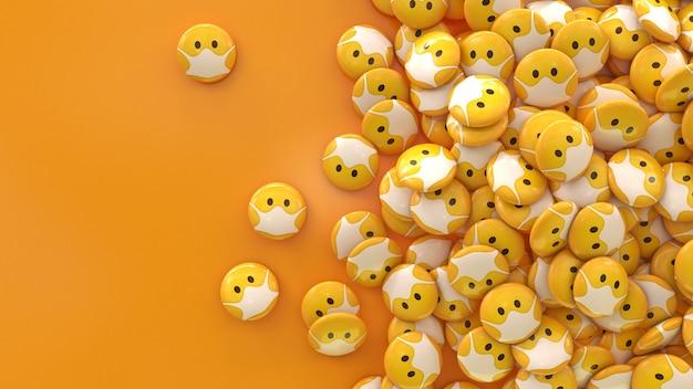 Renderização 3d de muitos emojis com máscaras protetoras de comprimidos brilhantes sobre fundo laranja