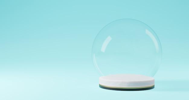 Renderização 3d de natal, bola de vidro no pedestal branco sobre fundo azul. resumo conceito minimalista, luxo minimalista