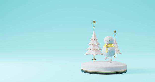 Renderização 3d de natal, boneco de neve e árvore de natal flutuando sobre fundo azul. resumo conceito minimalista, luxo minimalista