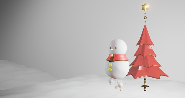 Renderização 3d de natal. boneco de neve e árvore de natal vermelha flutuando no fundo da neve, conceito mínimo abstrato, minimalista de luxo