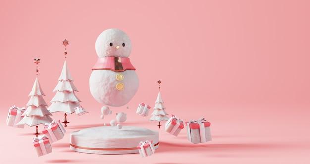Renderização 3d de natal. boneco de neve flutuando no pedestal de neve. rodeado por árvores de natal e caixas de presente