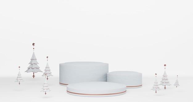 Renderização 3d de natal. etapas em branco de pedestais de neve, árvores de natal flutuando sobre fundo de neve, conceito mínimo abstrato, minimalista de luxo